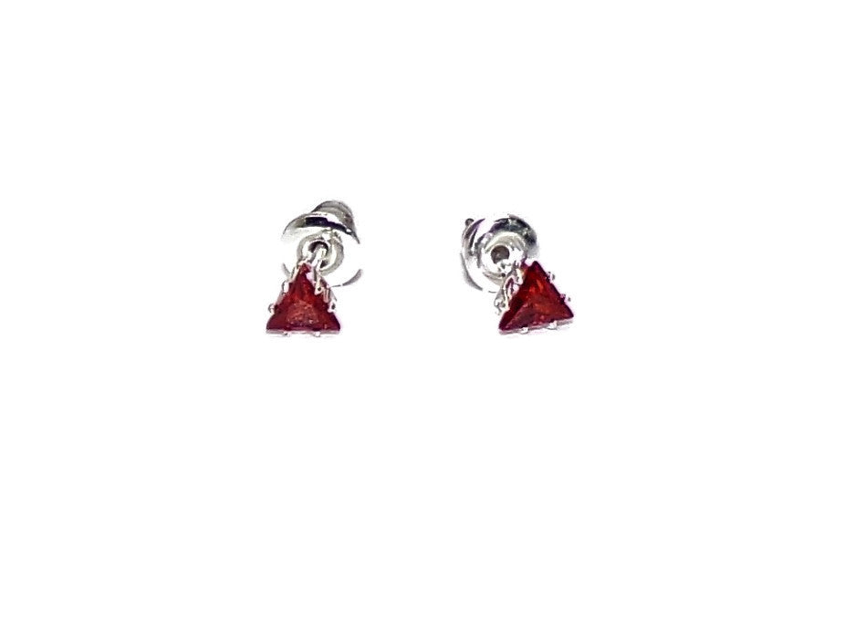 "Ruby Red Triangle Crystal .25"" Silver Stud Earrings"
