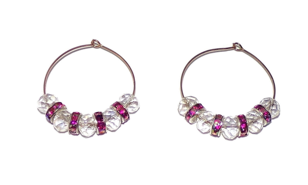 Clear Swarovski Crystal & Magenta Crystal Silver & Gold 40mm Hoops