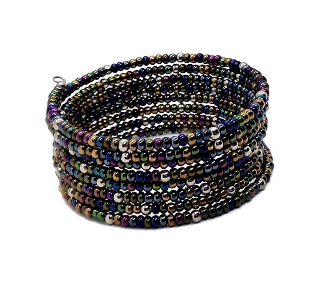 Statement Blue & Gold Iris  Multi Color Metallic Glass Beaded Wide Wrap Bracelet (XS-S)