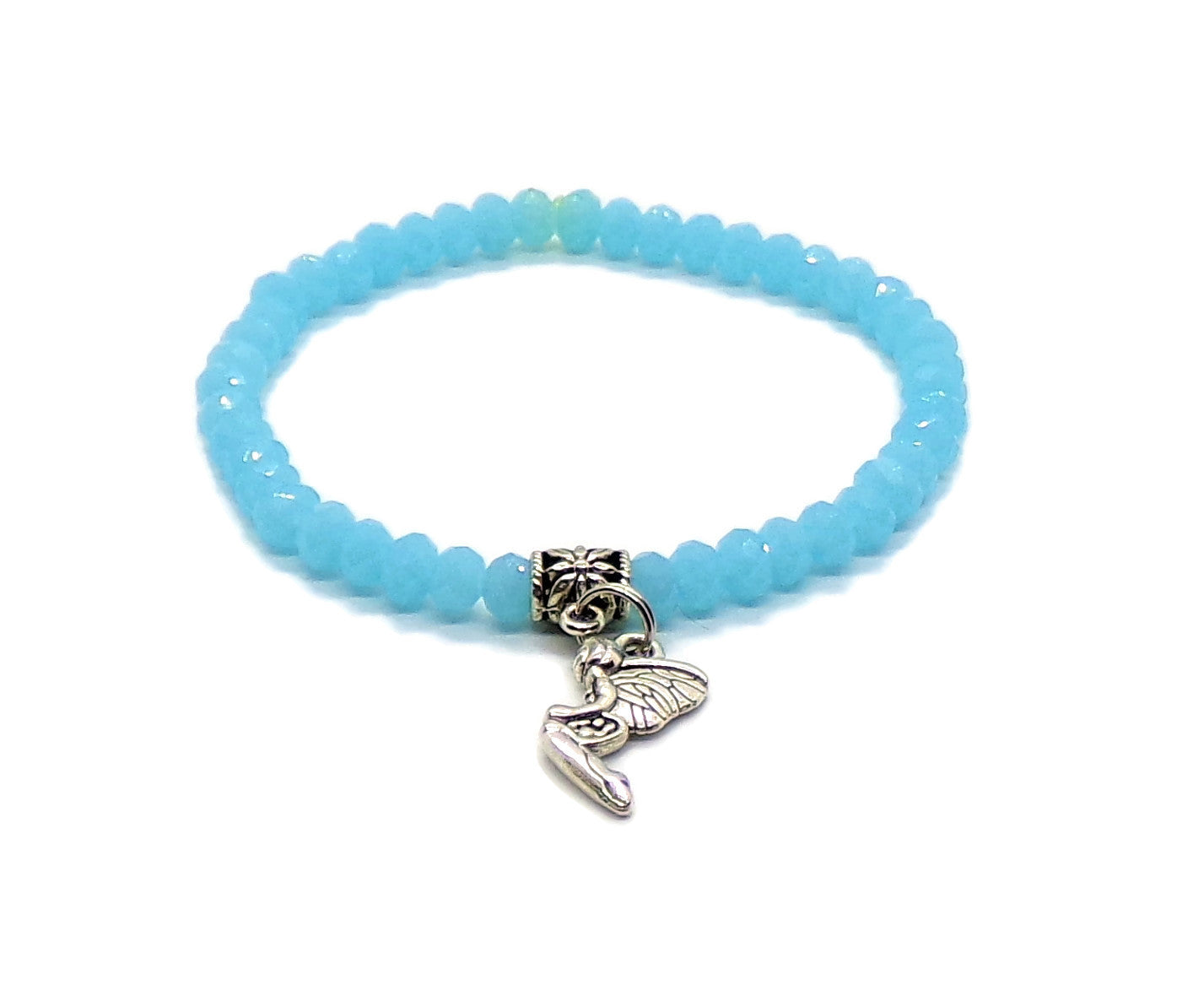 Aquamarine Faceted Stretch Bracelet with Fairy Charm (M)