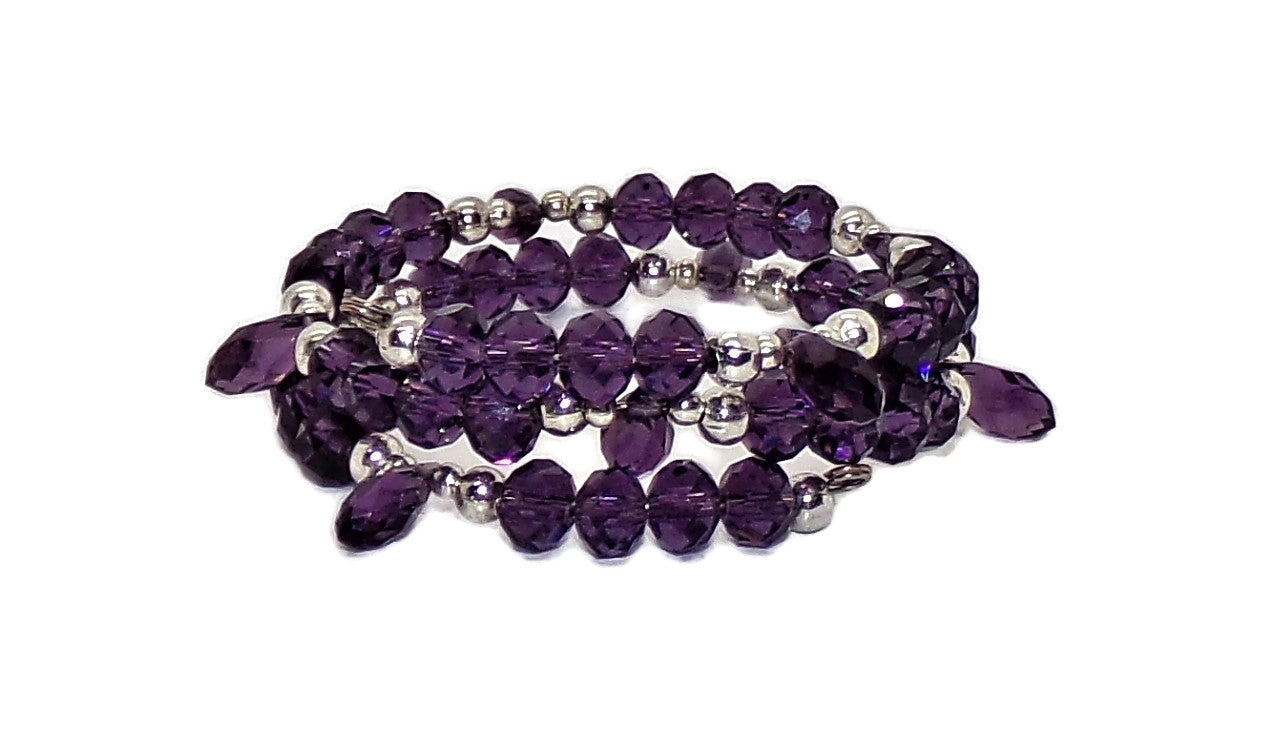 Deep Purple Crystal & Silver Beaded Women's Wrap Bracelet (S-M)