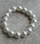 Dainty Diva White  10mm Glass Pearl Bead Stretch Bracelet, Wedding Bracelet, Bridal Gift