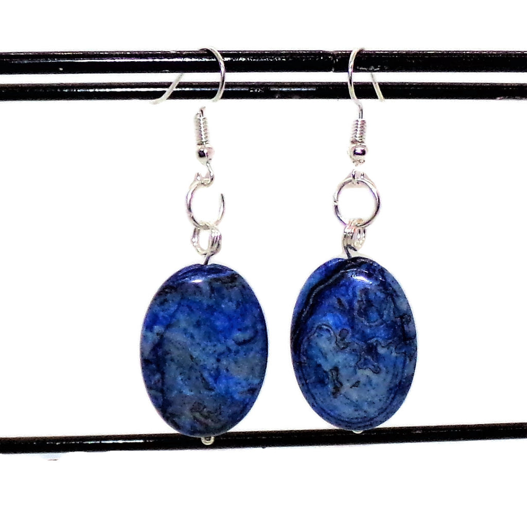 "Lapis Lazuli Puffy Oval 1"" x 3/4"" Silver Dangle Earrings, Blue Earrings, Stone Earrings, Gift for Her"