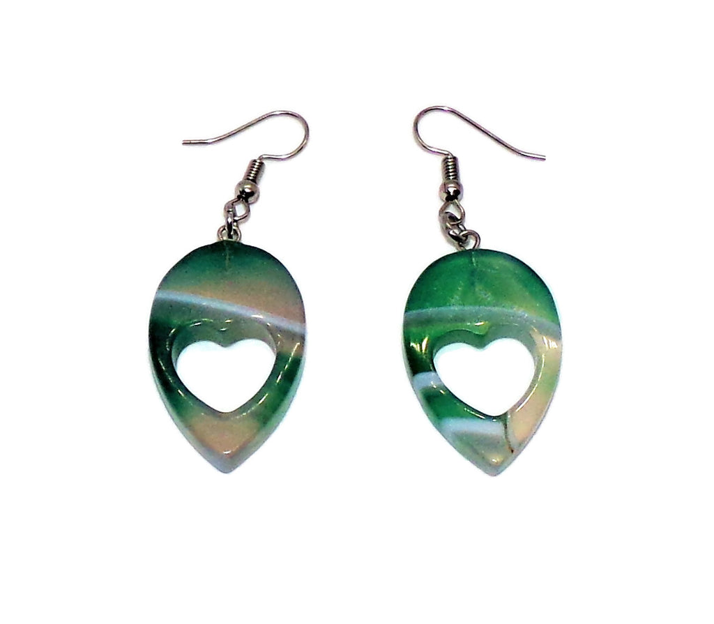 Heart Cutout Polished Green Striped Agate Teardrop  Dangle Drop Earrings, Gift for Her