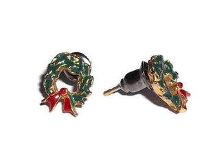 Vintage Tiny Enameled Christmas Wreath Gold Tone Post Back Earrings