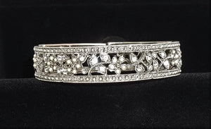 "Vintage Bridal ""Something Old"" White Rhinestone Silver Floral Stretch Bracelet (S-M), Gift for Bride, Formal Jewelry"