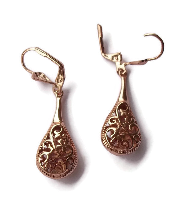 "Rose Gold Filled Filigree 1.75"" Teardrop Latchback Fashion Dangle / Drop Earrings"