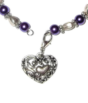 "Hearts & Purple Pearl Beaded Silver Artisan Bangle Bracelet w/ Filigree Heart Charm Clasp (XS - S 5.5"" - 6.75"")"