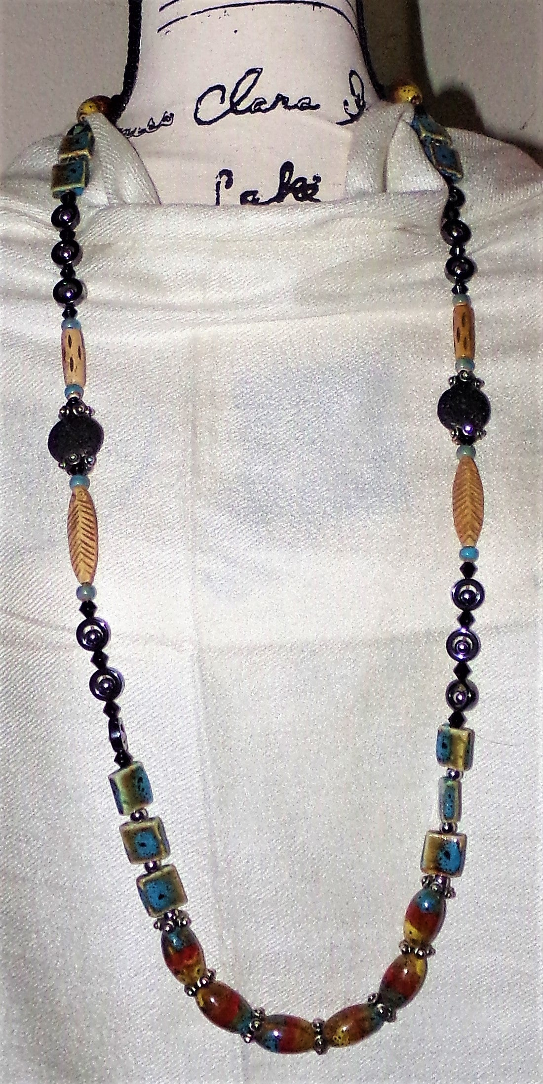 "Hand Glazed Ceramic,Buffalo Bone, Hawaiin Lava Beads, Hematite and Stainless Steel Statement 40"" Aromatherapy Strand Necklace"