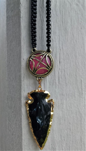 "Plus Size Elegance Black Obsidian Arrowhead Edged in 24k Gold w/ Antiqued Gold Tone & Pink Cabochon on a 18"" Black Matte Beadwoven Choker Chain"
