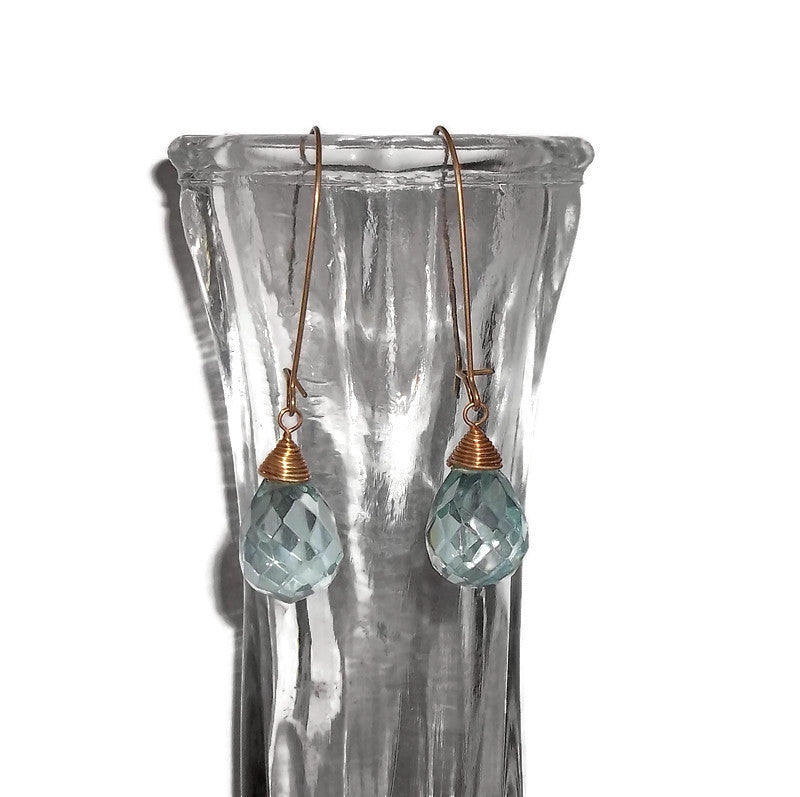 Vintage Aquamarine Faceted Teardrop Gold Tone Wire Wrapped Drop Dangle Earrings on Kidney Wires