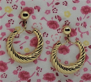 Vintage Stud w/ Twist Design Hoop Dangle Gold Tone Fashion Earrings ca. 1980s