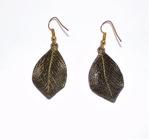"1.25"" x .75"" (30mm x 20mm) bronze leaves. Gold Plated ear wires.  2"" drop from earlobe.  Simple but elegant. Wear dressed up or down. ARTISAN: Kat Salinas"
