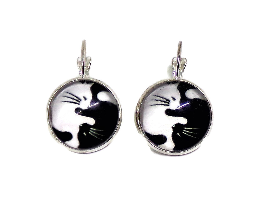 Black & White Cats Yin Yang Design Glass Cabochon Silver Tone Lever Back Earrings,Gift for Her, Cat Earrings
