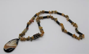 Frog Golden Rutilated Quartz & Black Onyx Pendant Necklace 24""