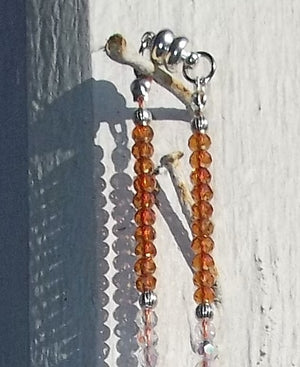 "Burnt Orange Striped Agate Pendant on Orange AB & Clear AB Swarovski Crystal Silver Artisan Crafted 20"" Necklace"