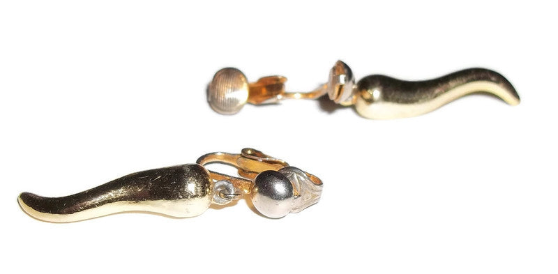 "Vintage Solid Brass Horn Dangle Clip On Earrings (1.25"")"