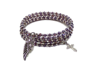 Rose Angel Wing and Cross Purple AB Crystal Silver Memory Wire Bracelet M-L, Religious Bracelet, Cross Bracelet, Gift for Her
