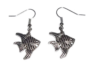 Angelfish Silver Tone Artisan Crafted Dangle Earrings