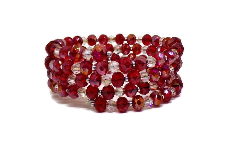 Red & Clear Swarovski Crystal Memory Wire Cuff Bracelet, (XS-S), Holiday Bracelet, Gift for Her