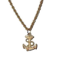 "Vintage Unisex Anchor Pendant 1.25"" Gold Tone w/ 24"" Heavy Gold Tone Rope Chain"
