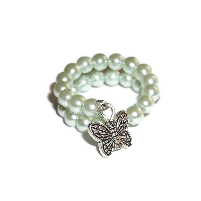 Butterfly Seafoam Green Pearl Bead Artisan Crafted Wrap Ring (7-9)