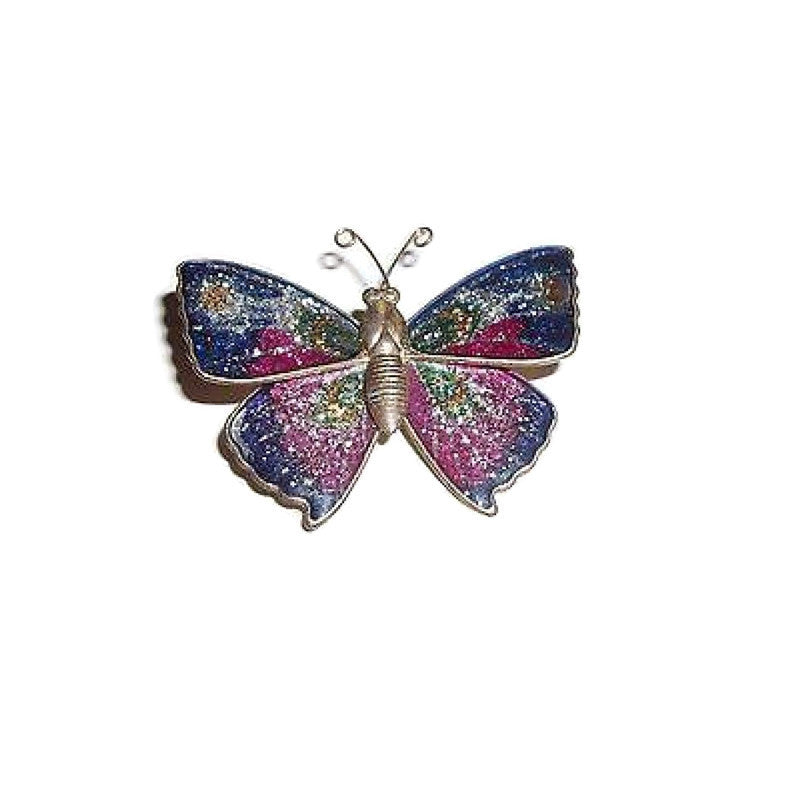 Vintage Butterfly  Pink and Blue Glitter Enameled Brass Brooch  ca.1970's