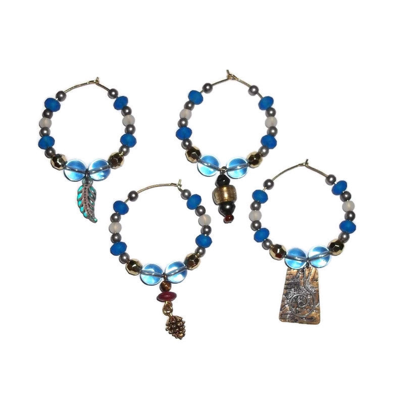 Hand Crafted Blue Beaded Wine Charms Set of 4