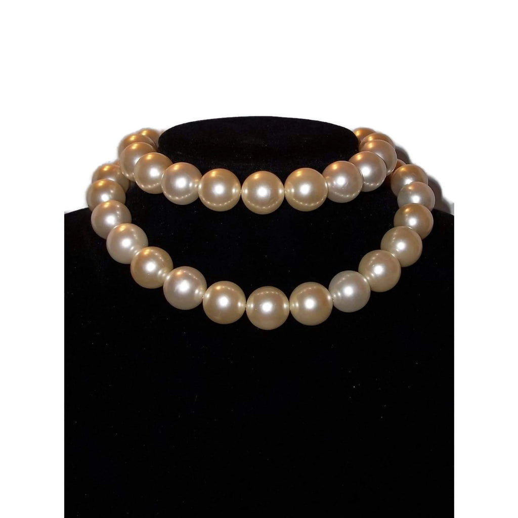 "Vintage Cream Faux Pearl Beads 15mm  26"" Strand Necklace ca.1960s, Something Old, Bridal Gift"