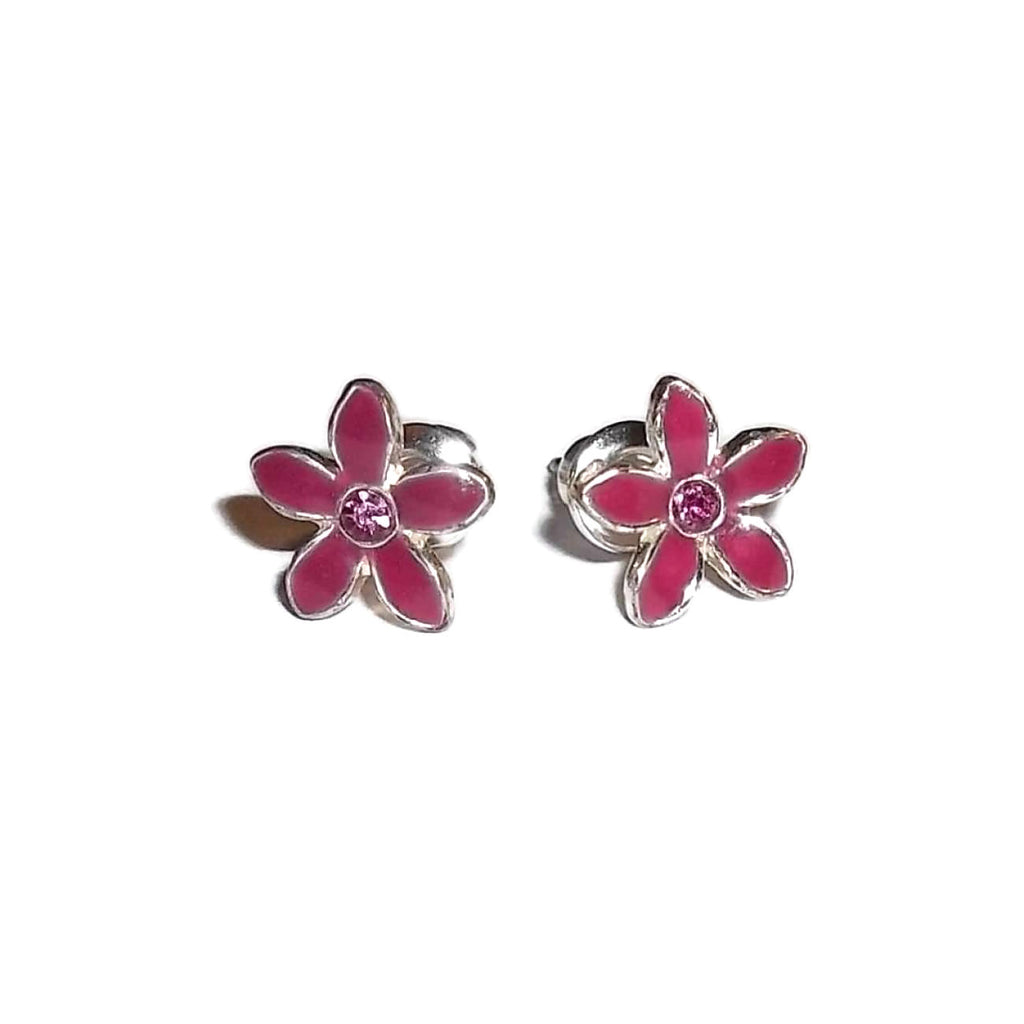 Vintage Tiny Pink Enameled Flower Pink Crystal Center Silver Plated Post Back Earrings