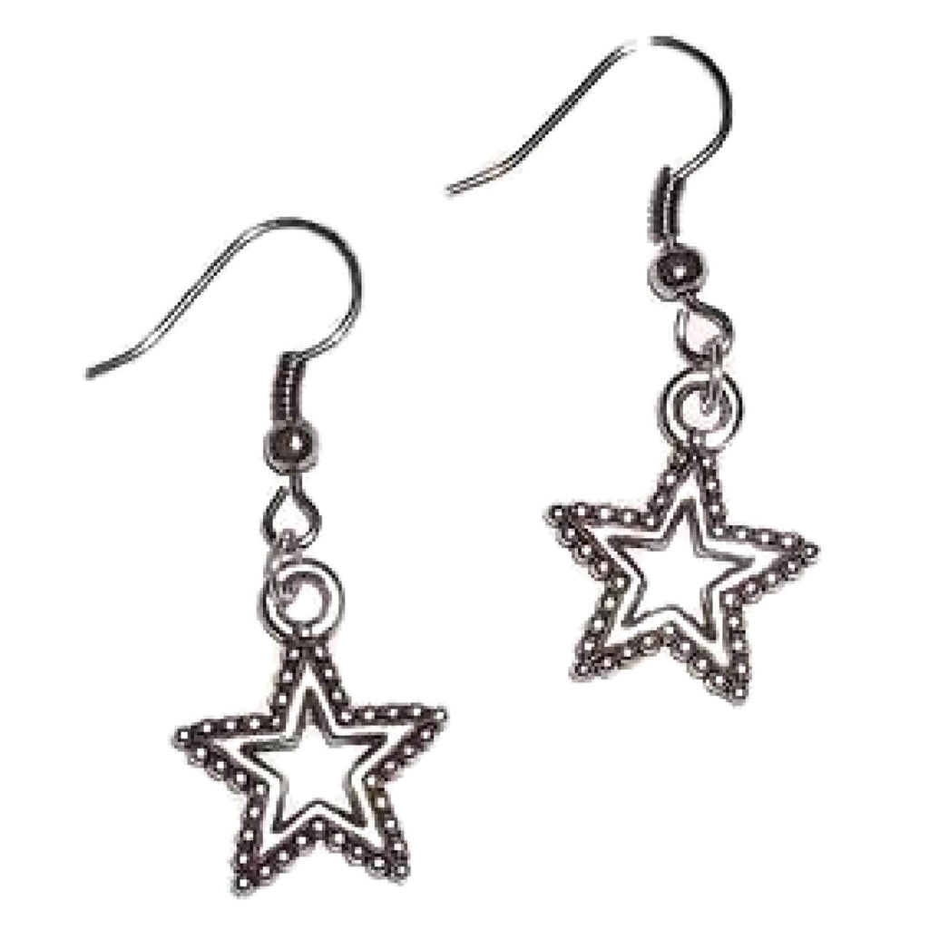 Cutout Star Tibetan Silver Artisan Crafted Dangle Earrings