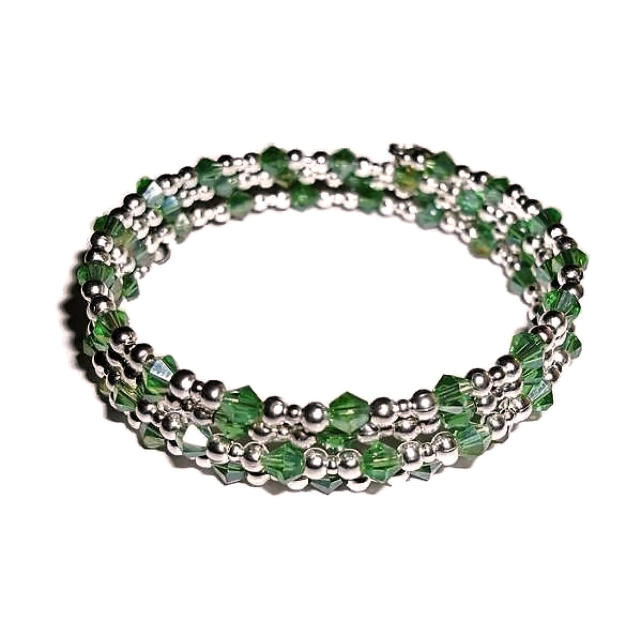 Baker  / Pastry Chef Green Swarovski Crystal Silver Artisan Crafted Wrap Bangle Bracelet(M-L)