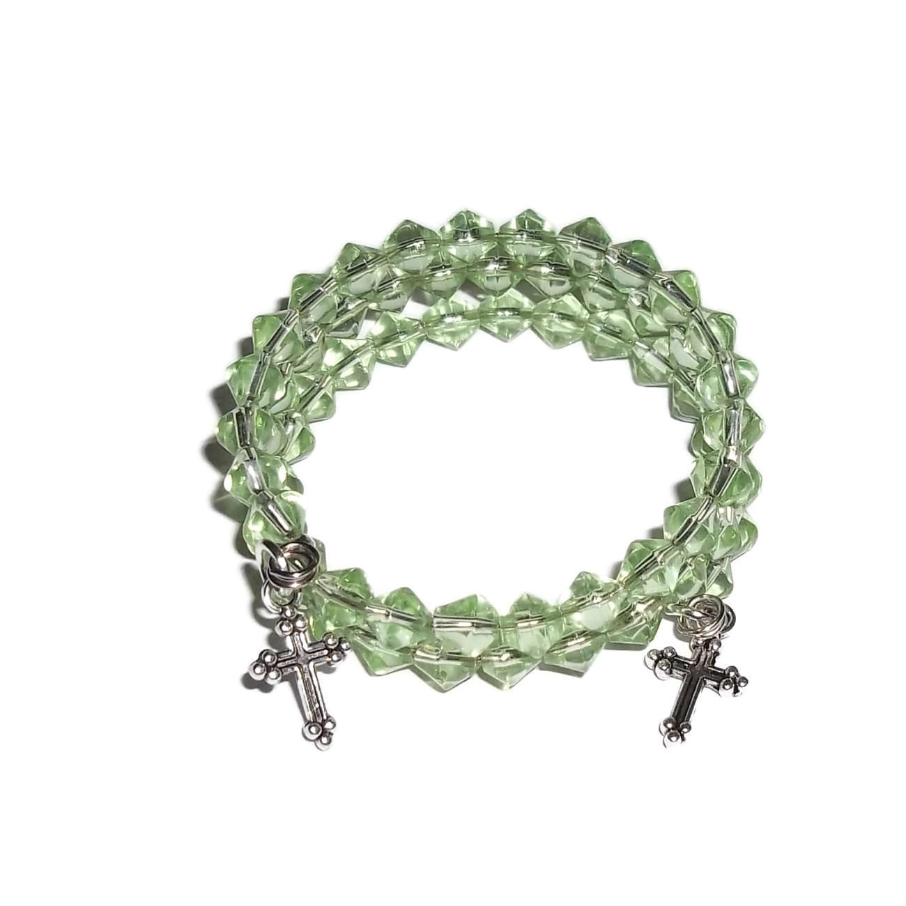 Children's Crosses Peridot Green August Birthstone Hand CraftedGlass Beaded Wrap Bracelet