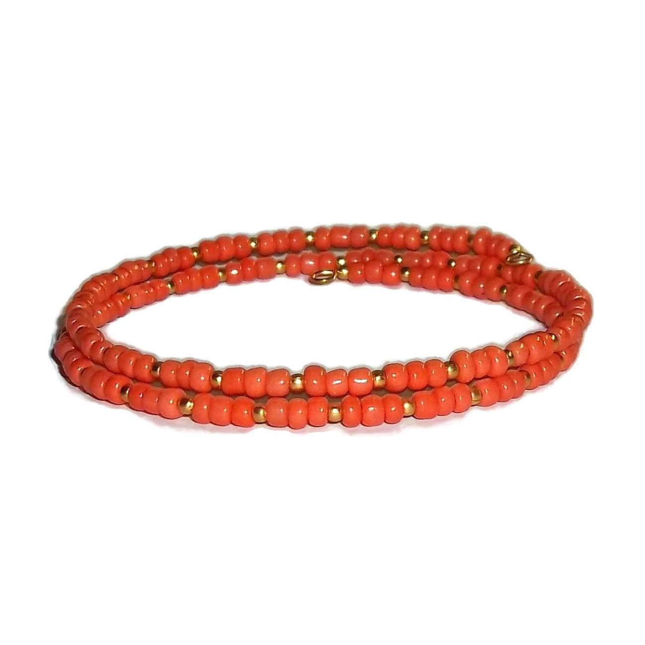 Orange & Gold Glass Beaded Artisan Crafted Stackable Wrap Bracelet (S-M)