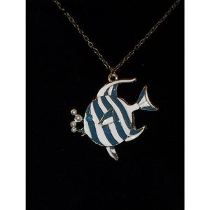Angel Fish Blue & White Enameled Bronze Pendant - Pendants