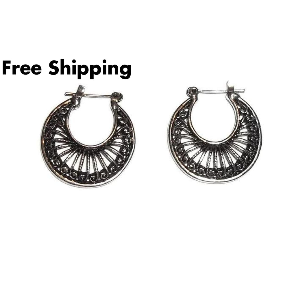 Antique Silver Classic Gypsy Style Medium Hoop Earrings - New Arrival