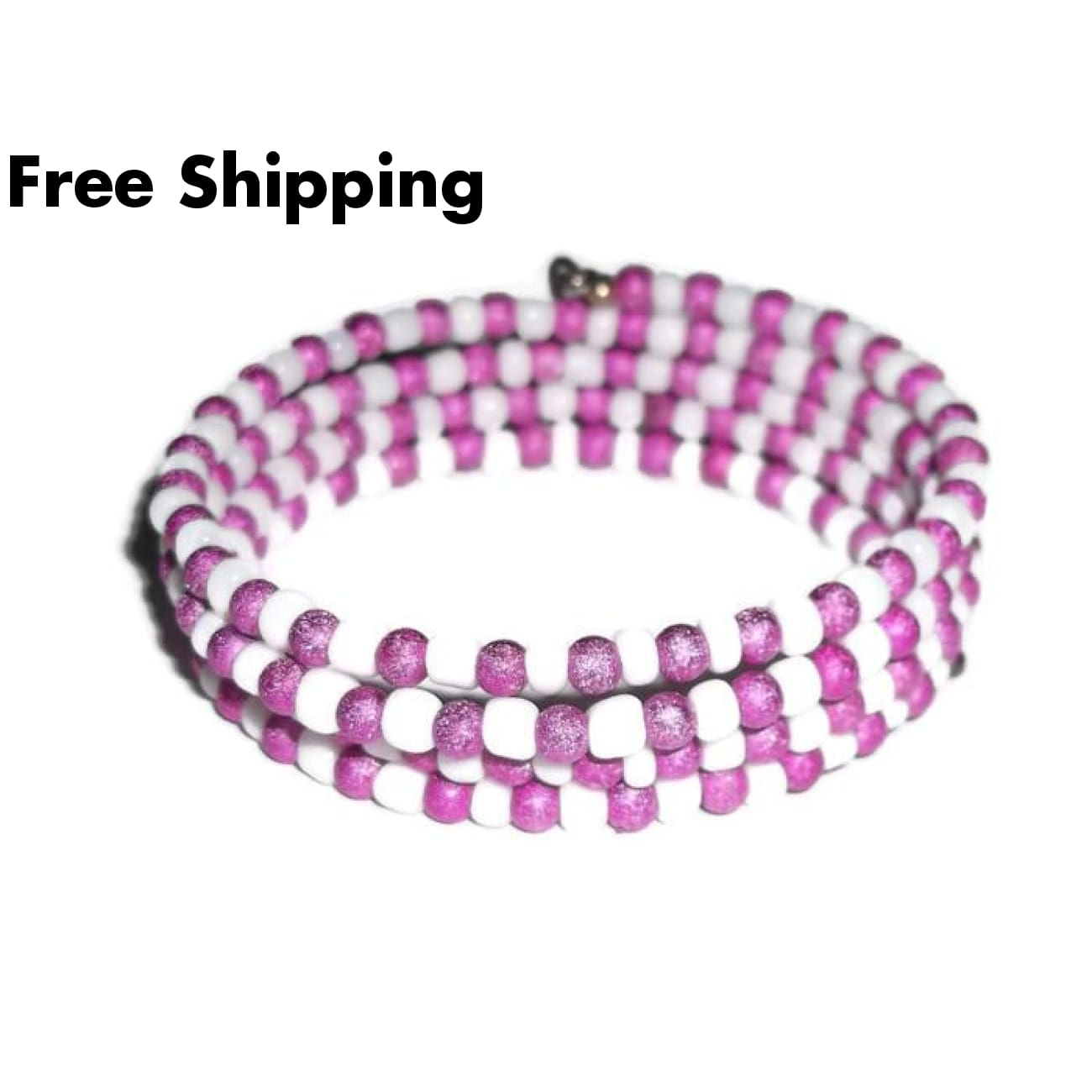 Bible Hot Pink Stardust And White Glass Beaded Artisan Crafted Wrap Bracelet (Xs - M) - New Arrival