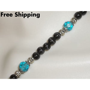 Black Cats Eye & Teal Blue Beaded Hand Crafted Choker Bib Necklace - Necklaces