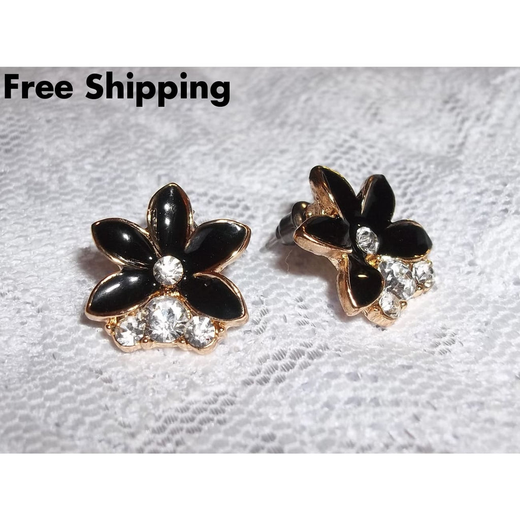 Black Flower & Crystals Gold Tone Post Back Earrings - Earrings