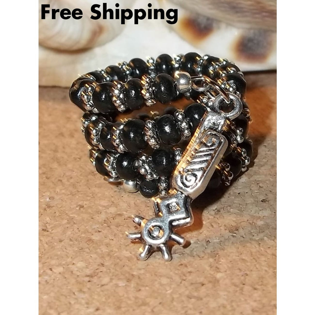 Black & Silver Beaded Hand Crafted Wrap Ring With Spur Charm Dangle - Rings
