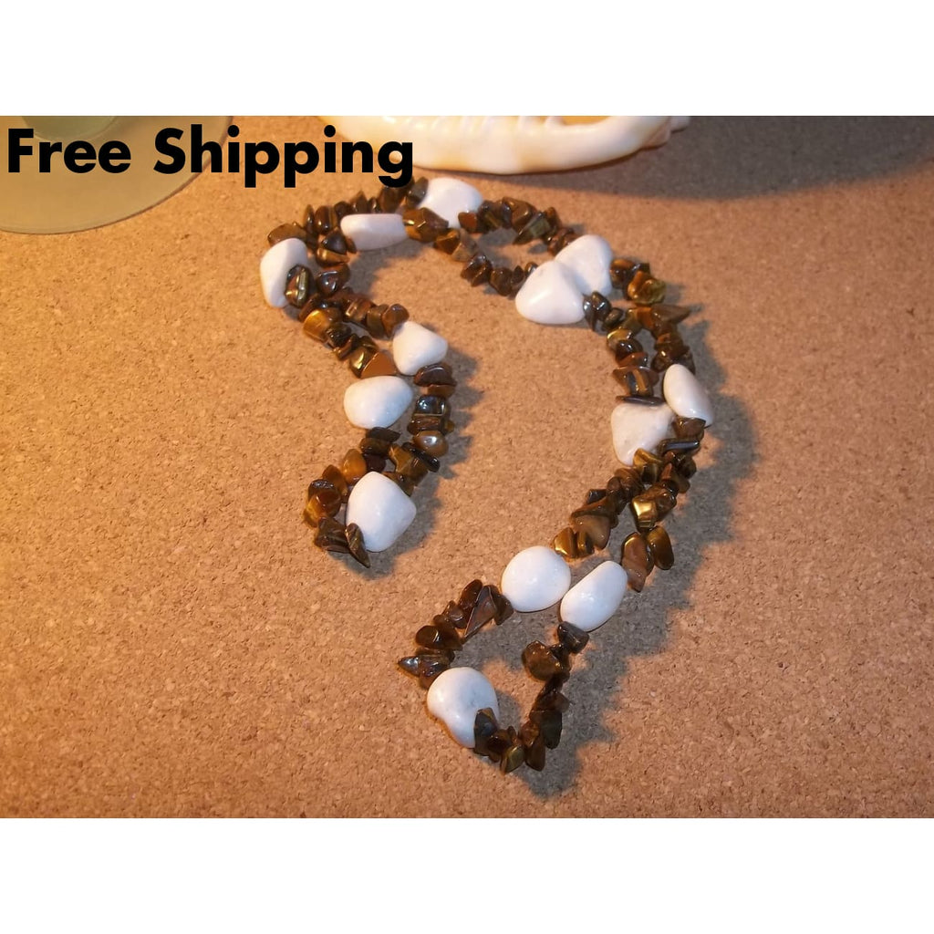 Bohemian White Aventurine & Tigers Eye Chip Hand Crafted 24 Stretch Necklace - Necklaces & Pendants
