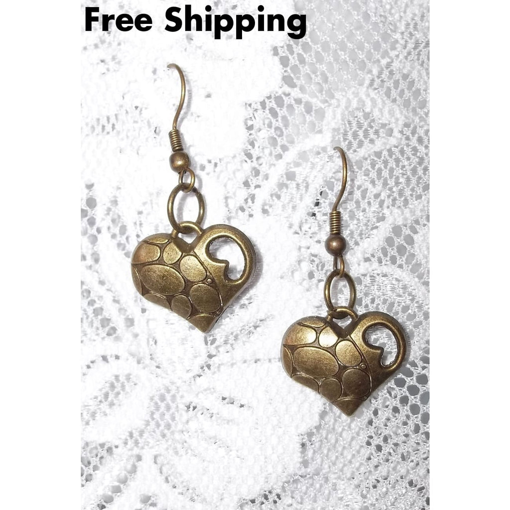Bronze Free Form Heart Artisan Crafted Dangle Earrings - Earrings