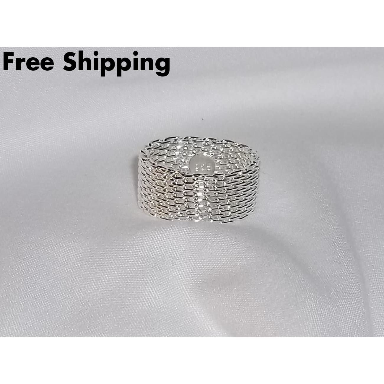 Chain Mesh Unisex 10Mm .925 Sterling Silver Band Ring (Size 6) - Rings
