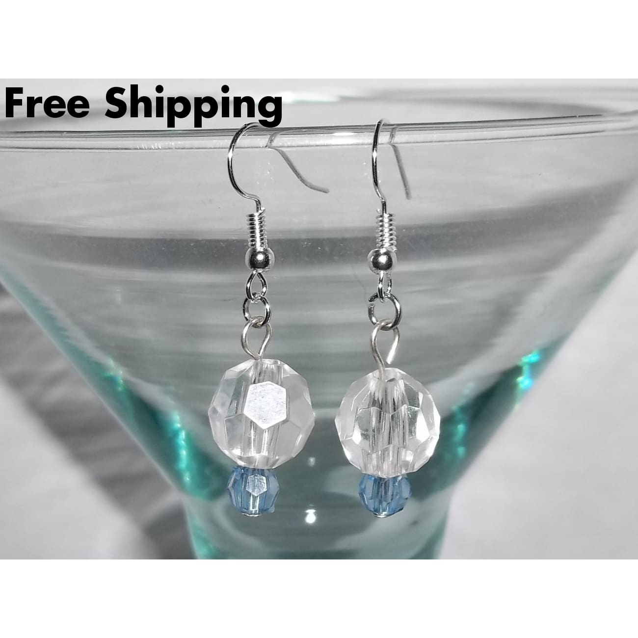 Clear & Light Blue Acrylic Crystal Hand Crafted Silver Drop Dangle Earrings - Earrings