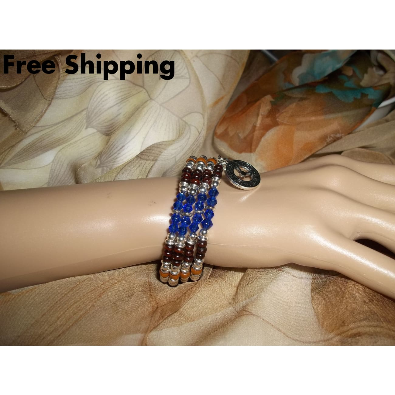 Clock Face September Birthstone Sapphire Blue Glass And Rosewood Bohemian Boho Beaded Hand Crafted Silver Wrap Bracelet - Bracelets