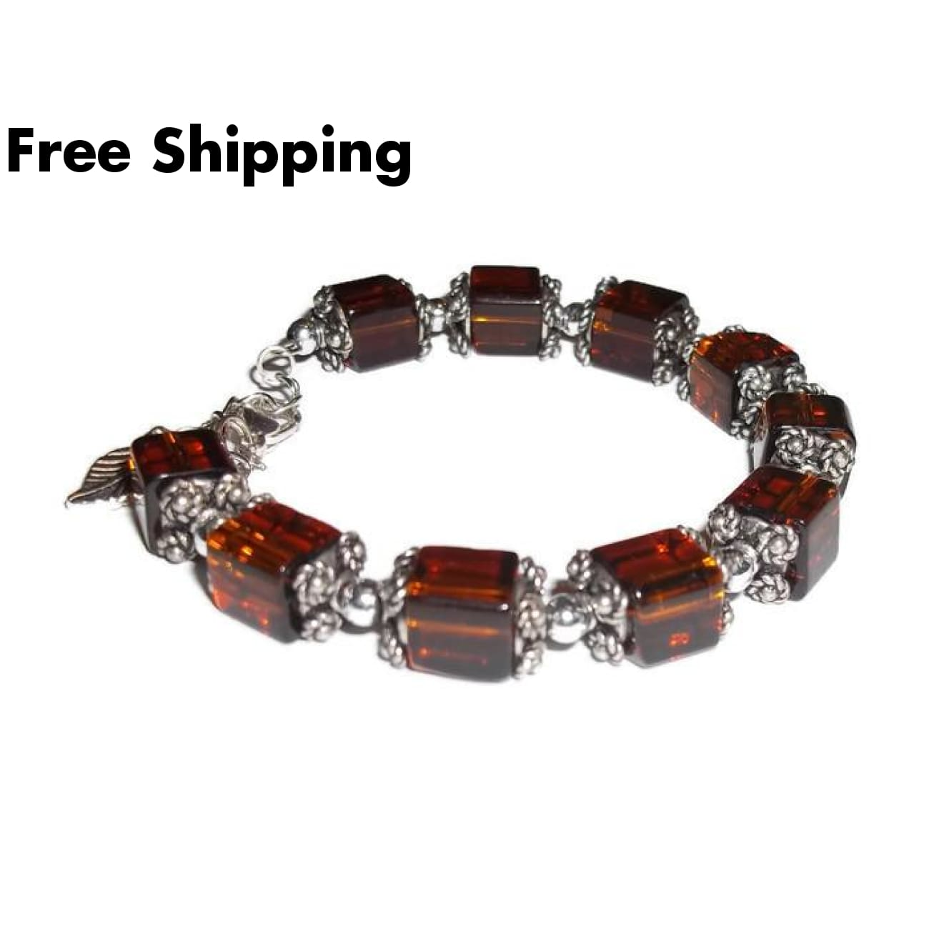 Coffee Square Glass Tibetan Silver Artisan Crafted Statement Bracelet (M) - Bracelets