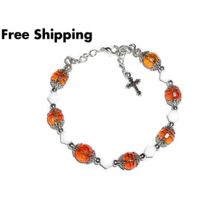 Cross Amber Ab Swarovski Crystal & Milk Glass Artisan Adjustable Bangle Bracelet (S - M) - Bracelets
