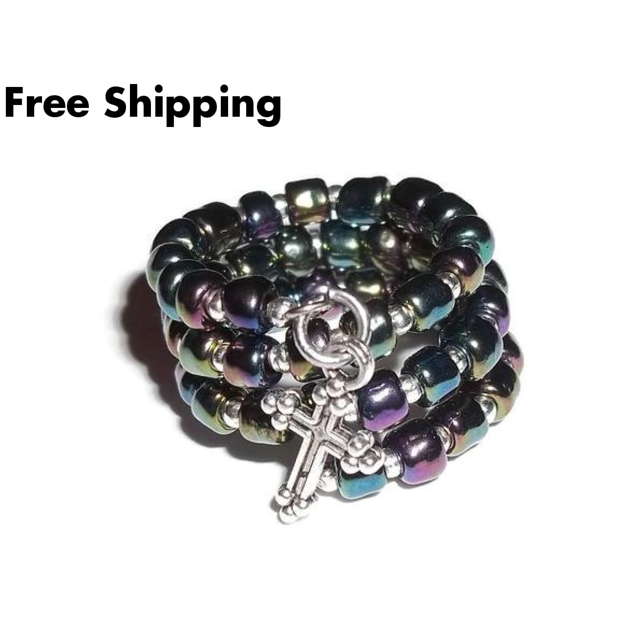 Cross Blue Iris Glass Beaded Silver Adjustable Wrap Ring - Rings