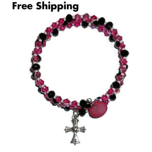Cross Hot Pink & Black Beaded Artisan Crafted Wrap Bracelet (M-L)