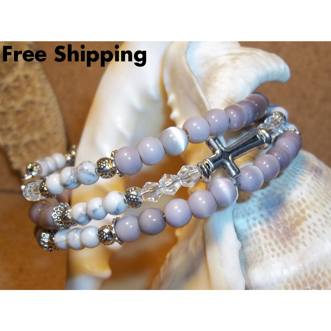 Cross Lavender Cats Eye White Marble & Clear Swarovski Crystal Silver Hand Crafted Wrap Bracelet - Bracelets